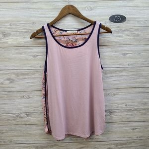 Le Lis Blush Tank Top With Floral Back
